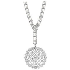 Rare Edwardian Platinum Diamond and Seed Pearl Pendant Necklace, circa 1910