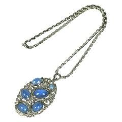 Rare Edwardian Style Early Trifari KTF Star Sapphire  Art Deco Necklace