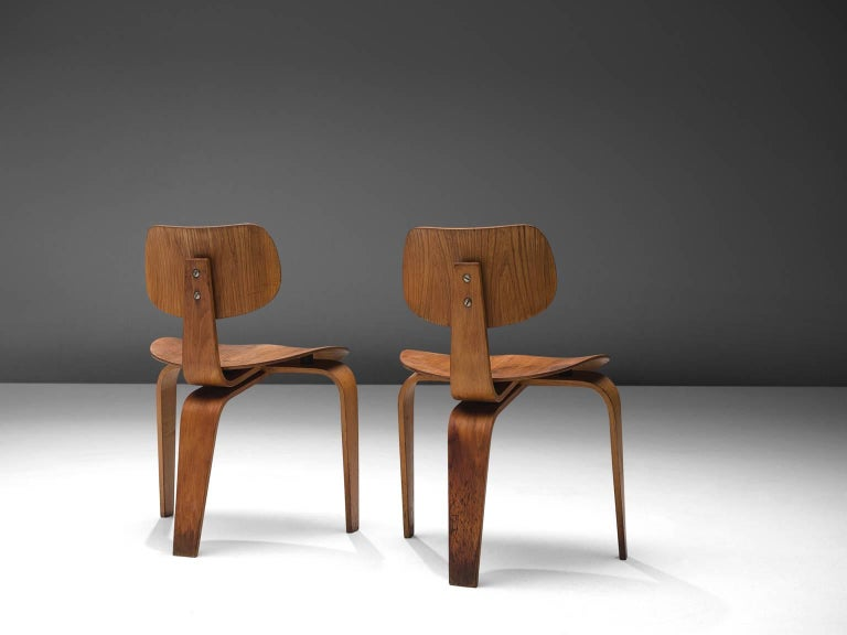 German Rare Egon Eiermann Pair of SE42 Plywood Chairs For Sale
