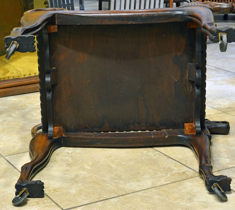 Rare Egyptian Revival Tutankhamun Inspired Carved Walnut Lion Table or Cart For Sale 5