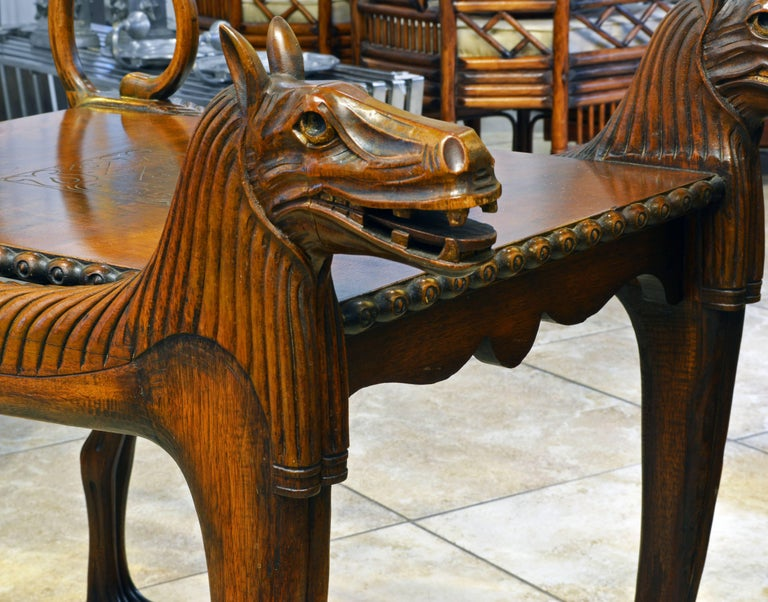 French Rare Egyptian Revival Tutankhamun Inspired Carved Walnut Lion Table or Cart For Sale