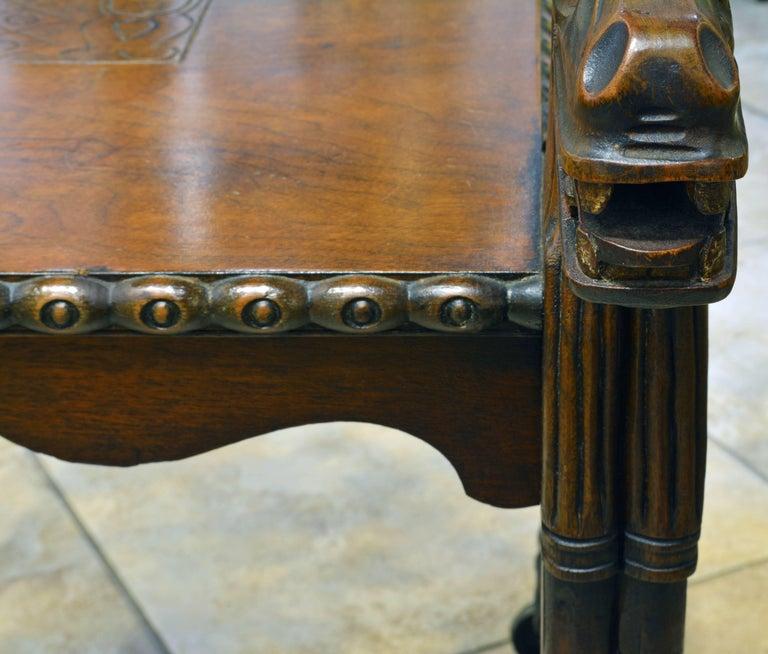 Rare Egyptian Revival Tutankhamun Inspired Carved Walnut Lion Table or Cart For Sale 1