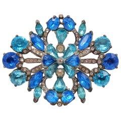 Rare Eisenberg Blue Massive Brooch 1940s