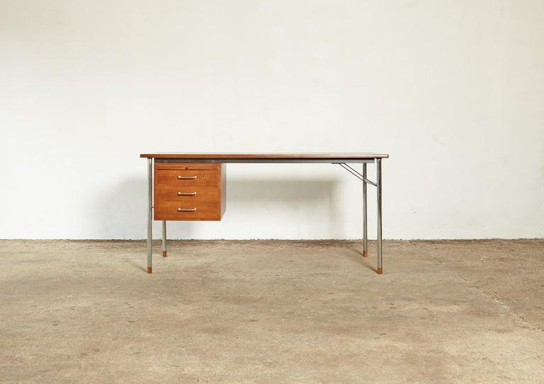 A rare Ejner Larsen and Aksel Bender Madsen desk, Denmark, 1960s. Made by Naestved Møbelfabrik, with makers mark.
