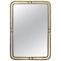 Rare Elegant Brass Mirror by Angelo Brotto