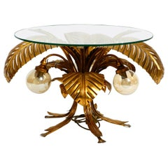 Rare Elegant Large Illuminated 1980s Florentine Table with Original Glass Plate