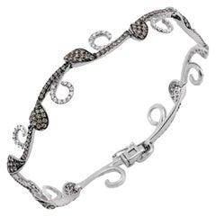 Rare Elegant White Diamond Brown Diamond White Gold Bracelet for Her