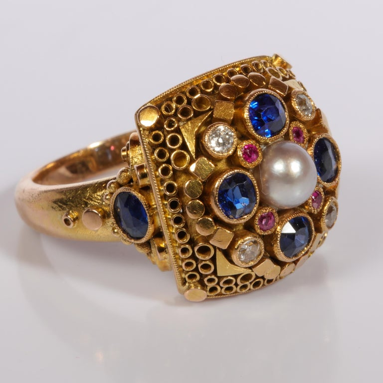 Rare Elmer Seidler Gold and Gemstone Ring, circa 1940s For Sale 5