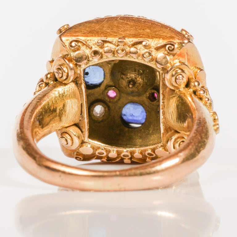 Rare Elmer Seidler Gold and Gemstone Ring, circa 1940s For Sale 6