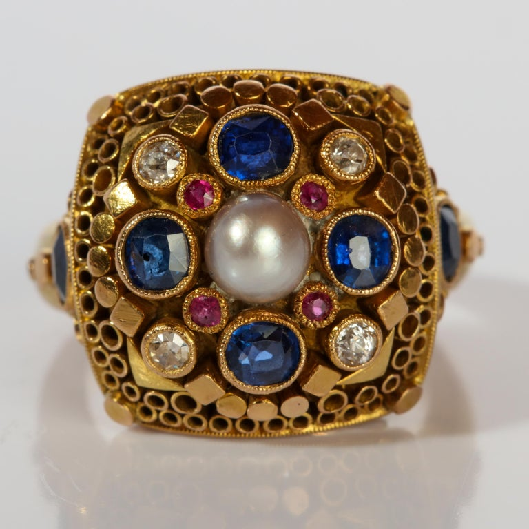 Artisan Rare Elmer Seidler Gold and Gemstone Ring, circa 1940s For Sale