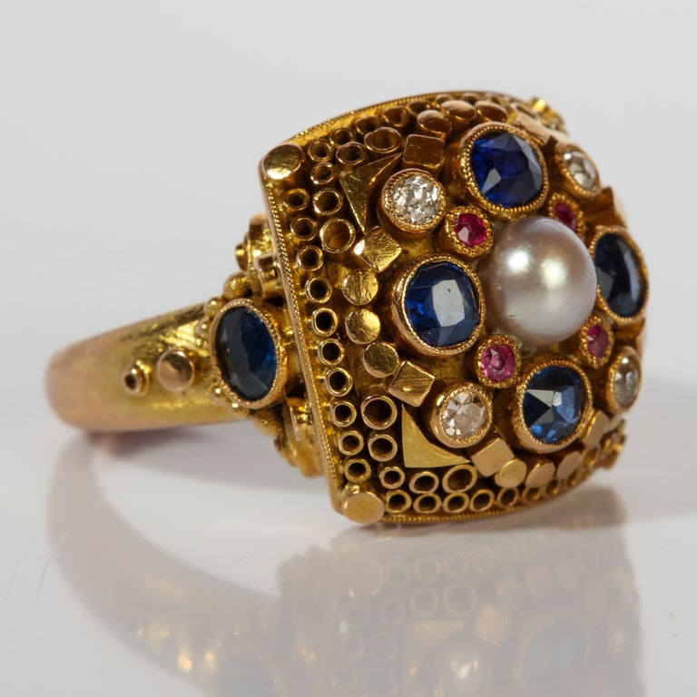 Rare Elmer Seidler Gold and Gemstone Ring, circa 1940s In Excellent Condition For Sale In Southbury, CT