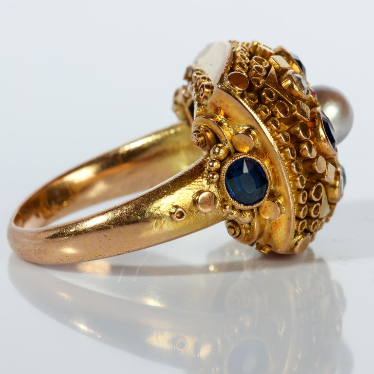 Women's or Men's Rare Elmer Seidler Gold and Gemstone Ring, circa 1940s For Sale