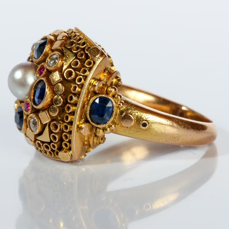 Rare Elmer Seidler Gold and Gemstone Ring, circa 1940s For Sale 1
