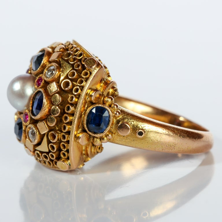 Rare Elmer Seidler Gold and Gemstone Ring, circa 1940s For Sale 2