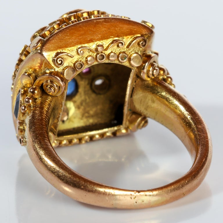 Rare Elmer Seidler Gold and Gemstone Ring, circa 1940s For Sale 3
