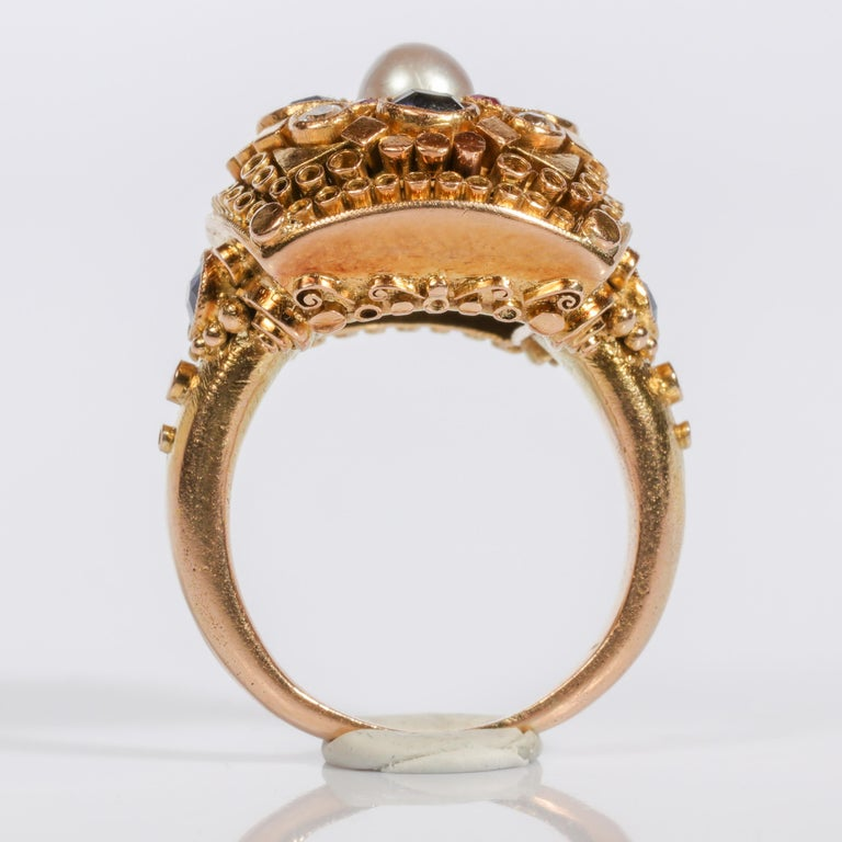Rare Elmer Seidler Gold and Gemstone Ring, circa 1940s For Sale 4