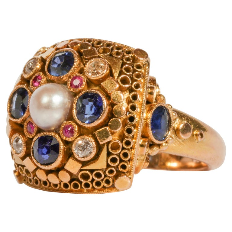 Rare Elmer Seidler Gold and Gemstone Ring, circa 1940s For Sale