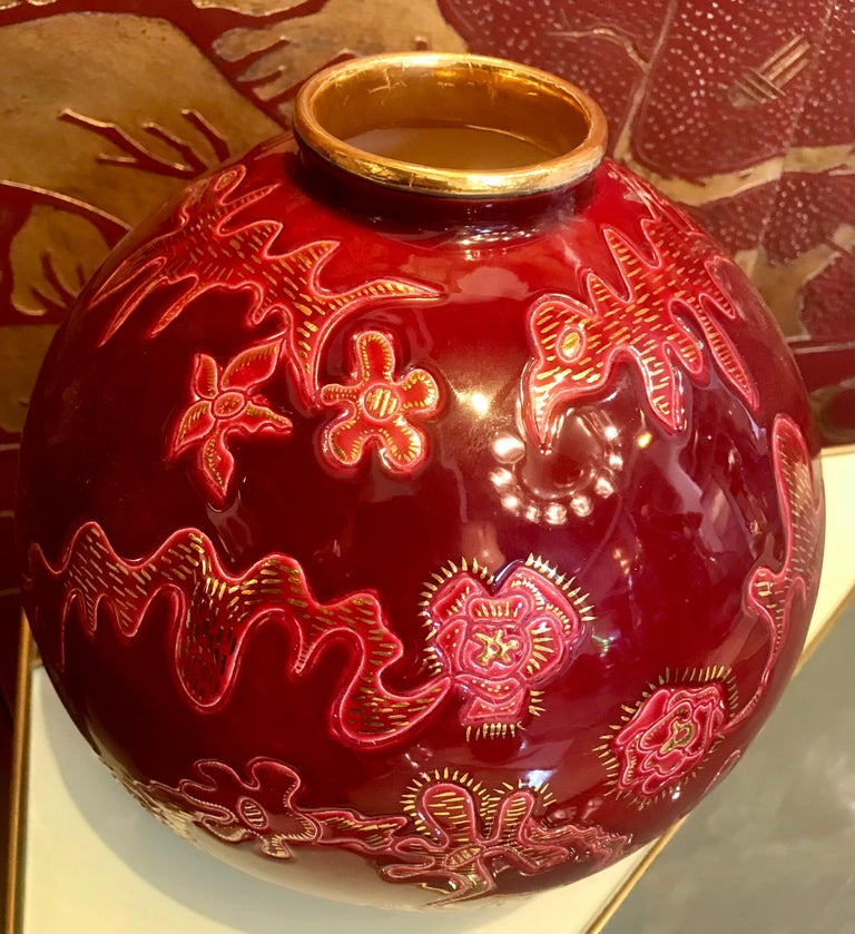 Rare Emaux de Longwy Ceramic Boule Vase by Garouste and Bonetti Limited 1 of 5   For Sale 8