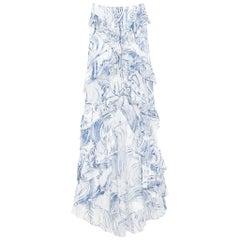 Rare Emilio Pucci by Peter Dundas Signature Print Lace Up Ruffled Maxi Skirt