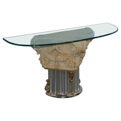 Rare Empire Classical Corinthian Pillar Console Table Base with Thick Glass Top