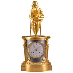 Rare Empire Library Pendule, Reading Child, in the Style of Claude Galle