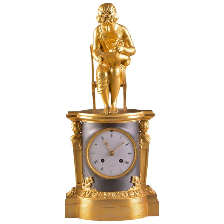 Rare Empire Library Pendule, Reading Child, in the Style of Claude Galle For Sale