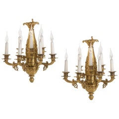 Rare Empire Ormolu Bronze Wall Lights, circa 1850