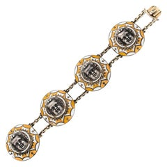 Rare Enamel and Silver Loves Bracelet by Frederic-Jules Rudolphi, Circa 1840