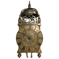 English 17th Century Miniature Lantern Wall Clock with Original Balance Wheel