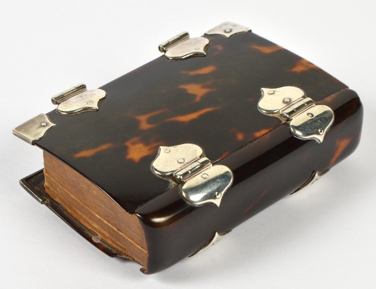 Georgian Rare English 18th Cent. Tortoise Shell and Silver Covered Book of Common Prayer For Sale