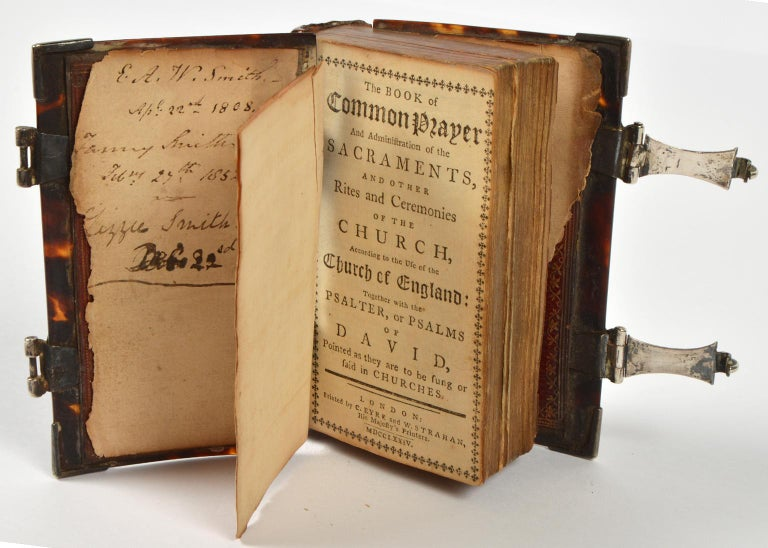 18th Century Rare English 18th Cent. Tortoise Shell and Silver Covered Book of Common Prayer For Sale