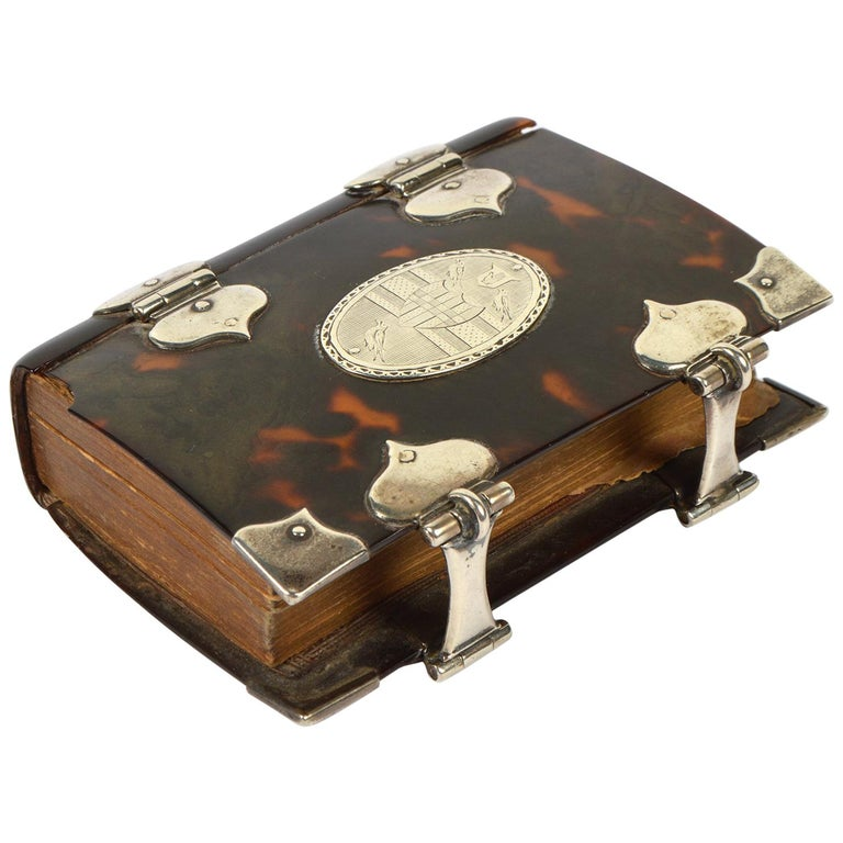 Rare English 18th Cent. Tortoise Shell and Silver Covered Book of Common Prayer For Sale