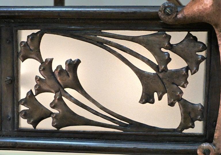 Rare English Art-Nouveau, Arts & Crafts Bronze and Copper Chandelier For Sale 3