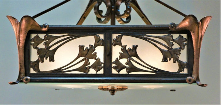 Arts and Crafts Rare English Art-Nouveau, Arts & Crafts Bronze and Copper Chandelier For Sale
