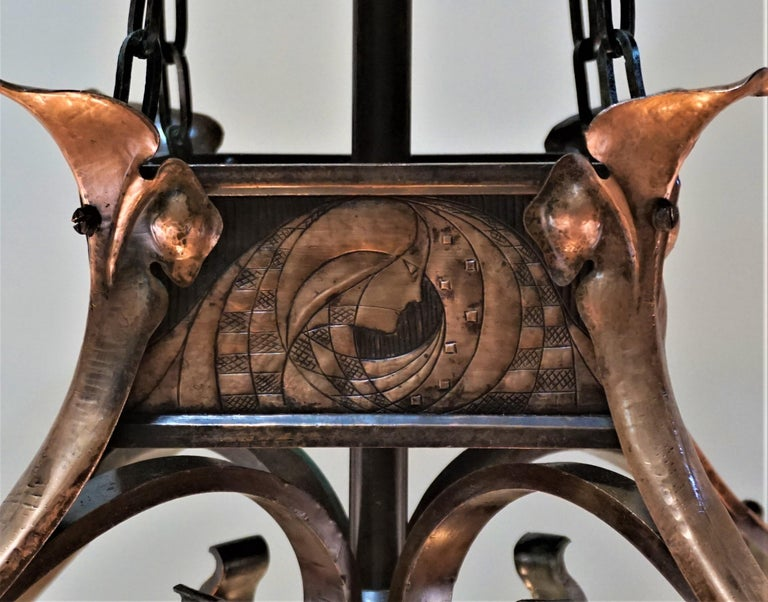 Early 20th Century Rare English Art-Nouveau, Arts & Crafts Bronze and Copper Chandelier For Sale