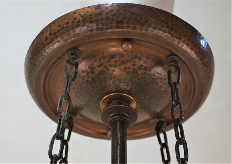 Rare English Art-Nouveau, Arts & Crafts Bronze and Copper Chandelier For Sale 1