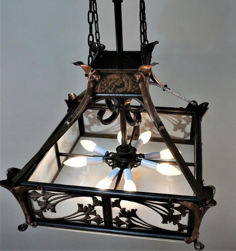 Rare English Art-Nouveau, Arts & Crafts Bronze and Copper Chandelier For Sale 6