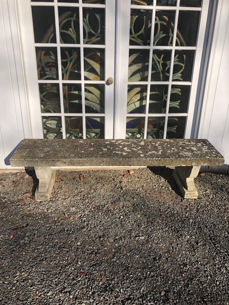 Rare English Carved Portland Stone Bench with Rope Edging and Lichened Surface For Sale 4