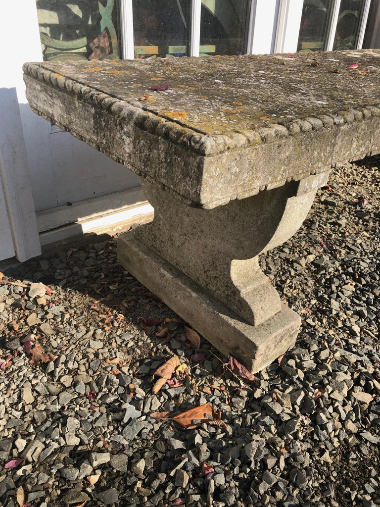 Rare English Carved Portland Stone Bench with Rope Edging and Lichened Surface For Sale 5