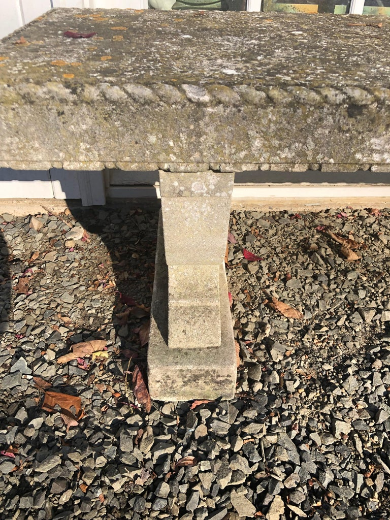 Rare English Carved Portland Stone Bench with Rope Edging and Lichened Surface For Sale 8