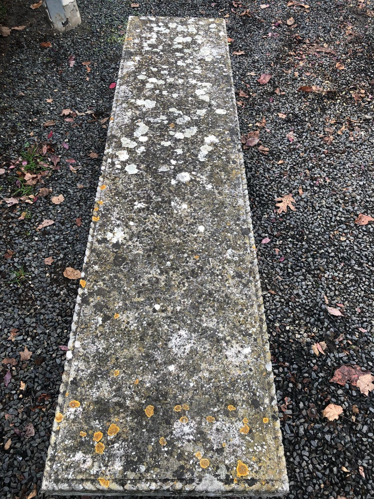 Rare English Carved Portland Stone Bench with Rope Edging and Lichened Surface For Sale 2