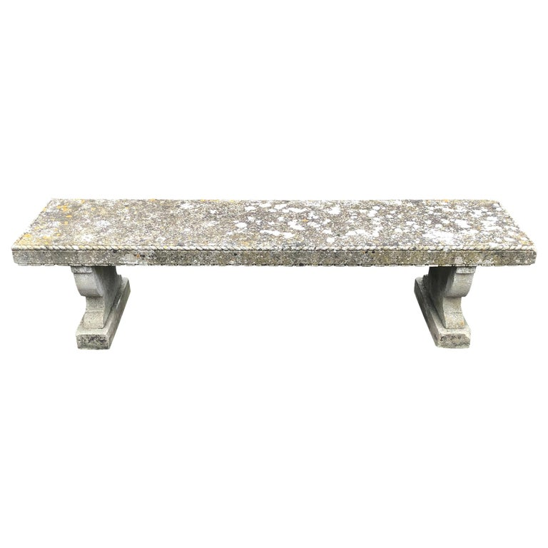 Rare English Carved Portland Stone Bench with Rope Edging and Lichened Surface For Sale