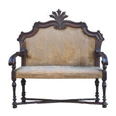 Rare English Early Oak and Upholstered Sofa, Late 17th Century
