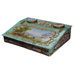 Rare English Enamel Writing Slope/ Box, Landscapes and Scrollwork, circa 1780