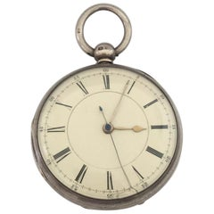 Rare English Lever Centre Seconds Chronograph Silver Pocket Watch
