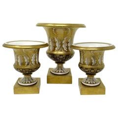 Rare English Minton Porcelain Campana Gilded Garniture Urns Vases, circa 1810