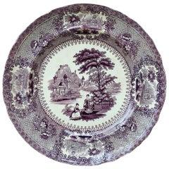 Rare English Mulberry Transferware Verona Dinner Plate, circa 1850