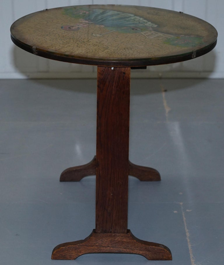 Rare English Oak Tilt-Top Side Table with Hand Painted Picture Glass Case Lovely For Sale 3