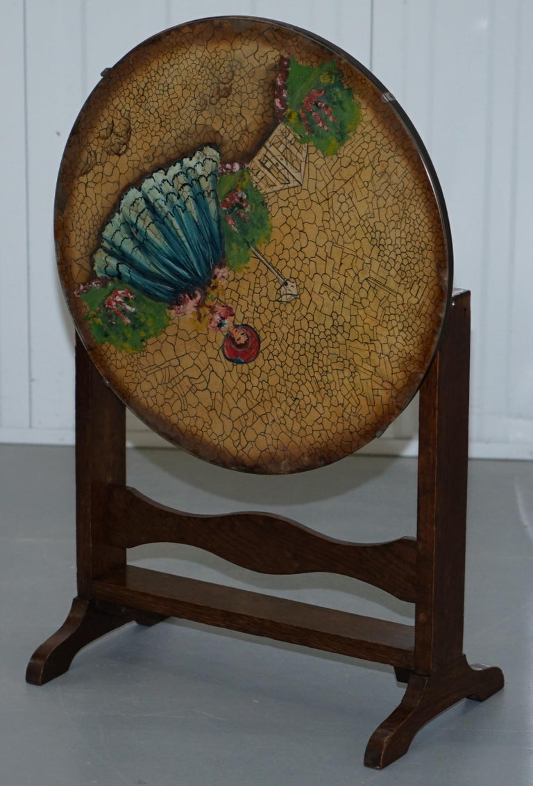 Rare English Oak Tilt-Top Side Table with Hand Painted Picture Glass Case Lovely For Sale 7