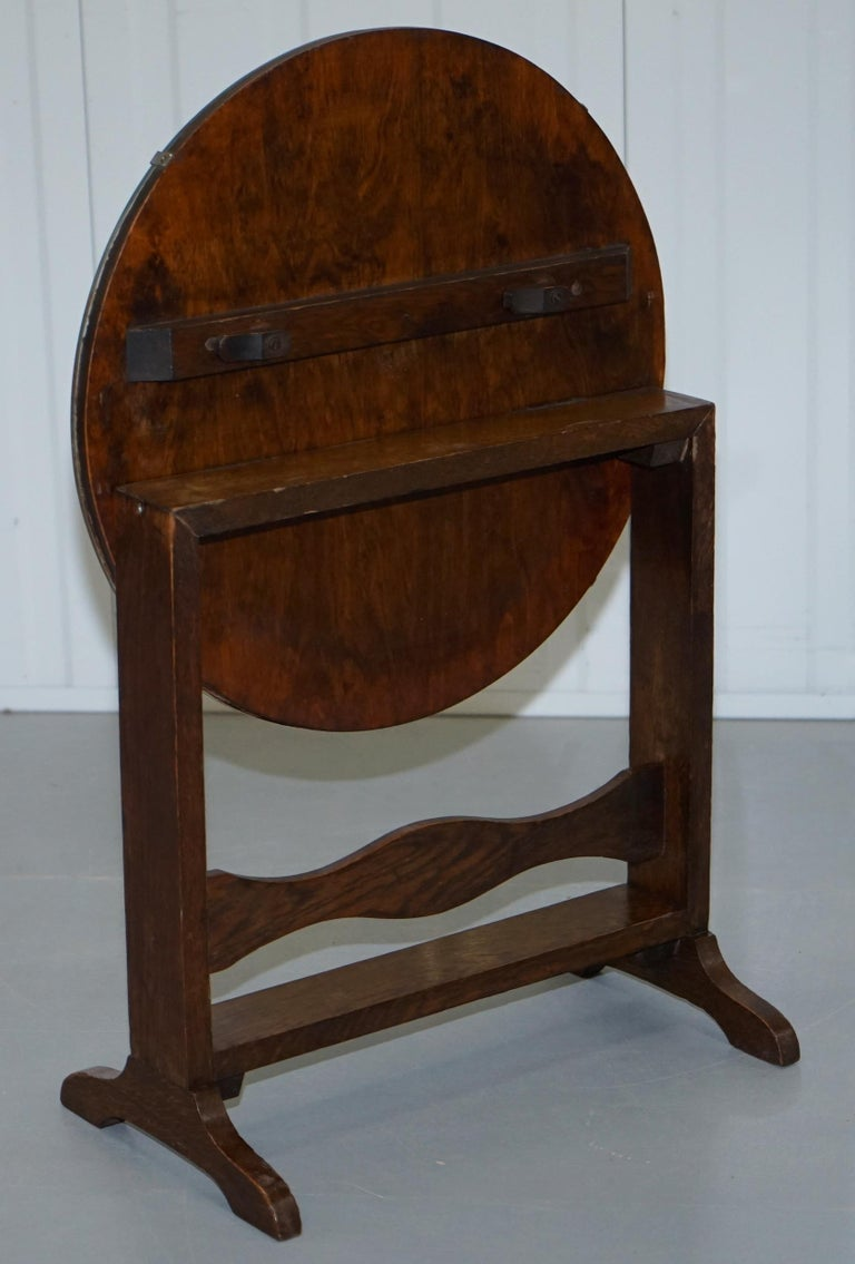 Rare English Oak Tilt-Top Side Table with Hand Painted Picture Glass Case Lovely For Sale 8